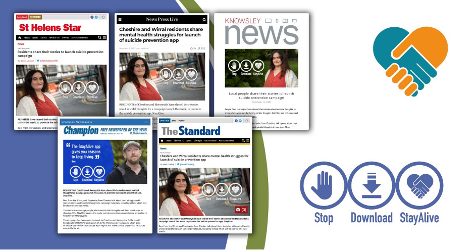 Collage of press articles about the Stay Alive app